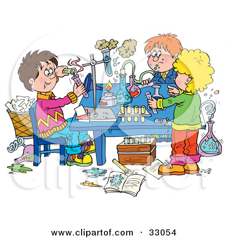 Clipart Illustration Of A Group Of School Children Conducting Science