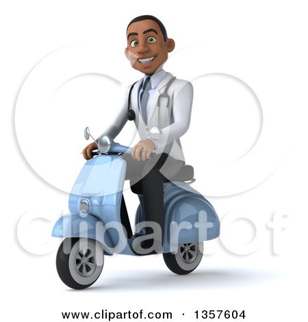 Clipart Of A 3d Young Black Male Doctor Riding A Blue Scooter On A