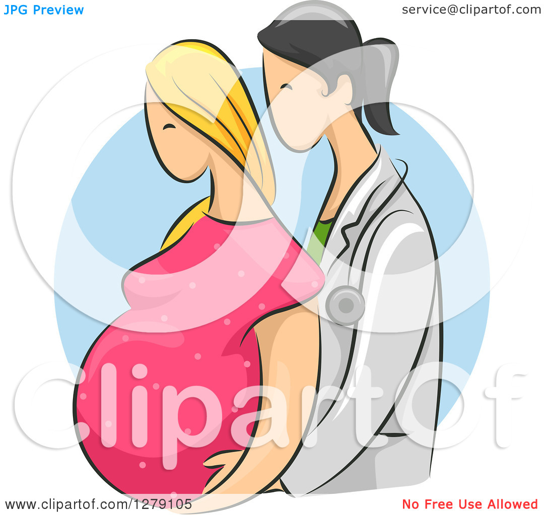 Clipart Of A Sketched Female Doctor Assisting A Blond White Pregnant
