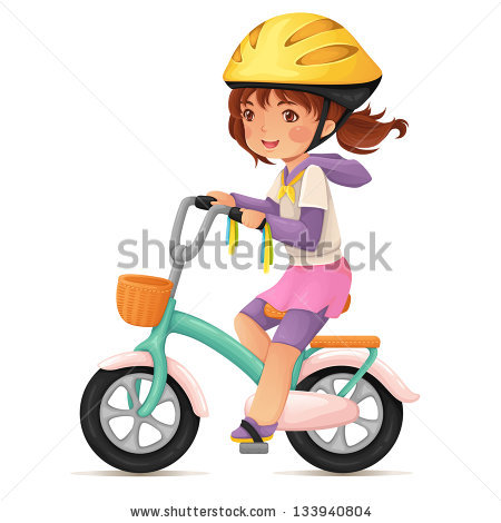Cute Happy Girl In Helmet Riding A Bike With A Basket  Stock Vector