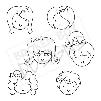 Face Stamps Clipart  Black   White