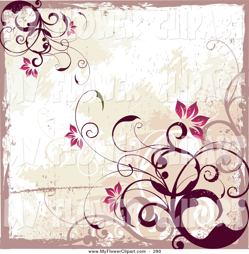 Flower Vine Border Clipart Clip Art Of A Red Flowering