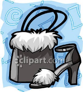 Fur Toed Shoe With Matching Purse   Royalty Free Clipart Picture