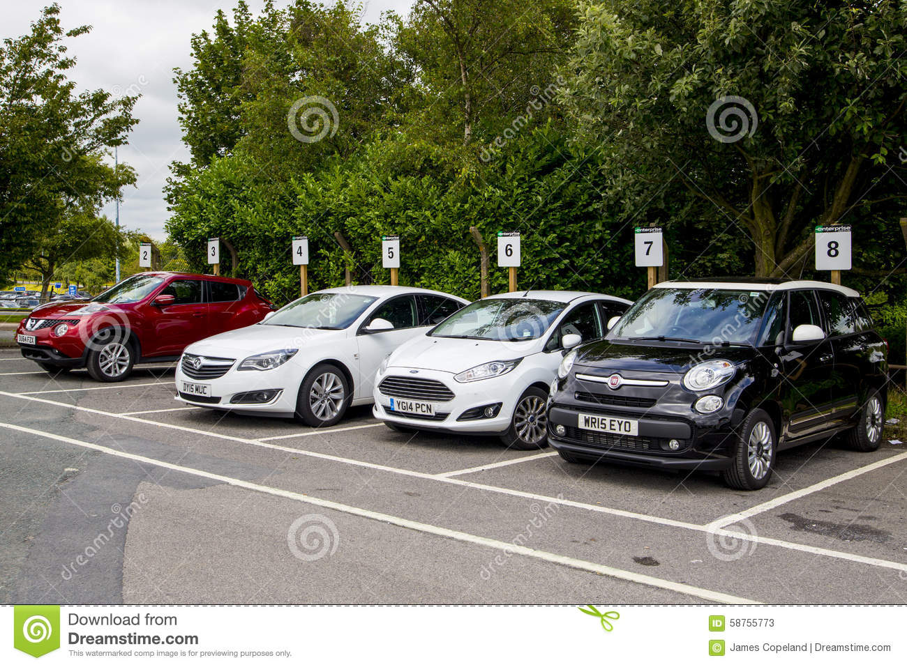 Hire Cars Parked In A Row Ready For Rental  Editorial Stock Photo