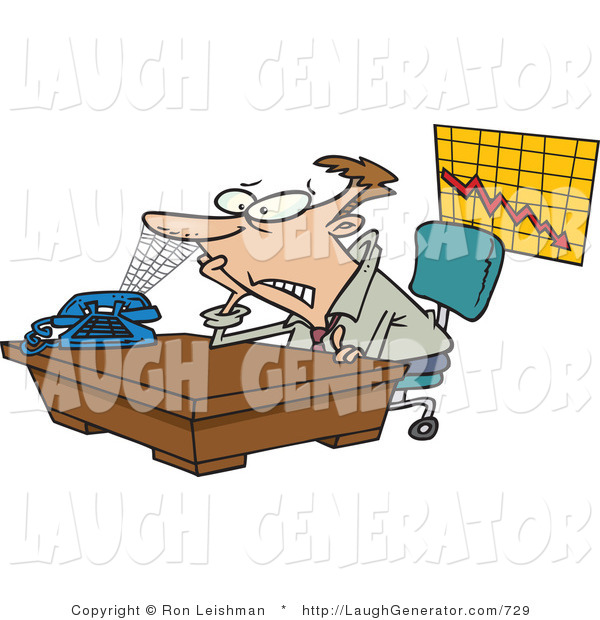 Humorous Clip Art Of A Bored Or Lazy Business Man With A Spiderweb