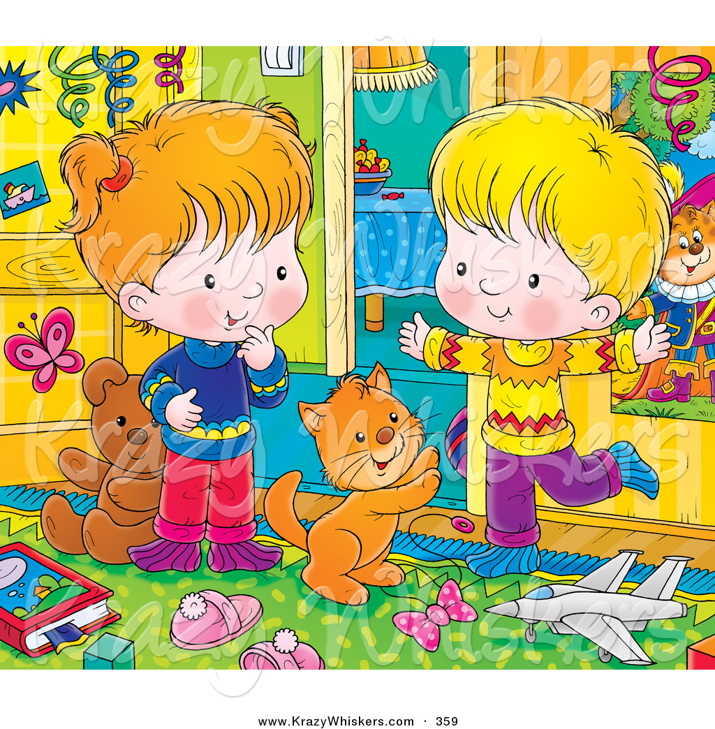 Larger Preview  Critter Clipart Of An Orange Kitty Cat Playing With A