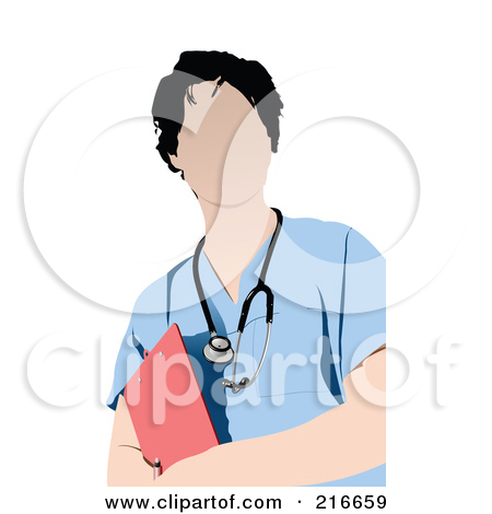 Royalty Free  Rf  Clipart Illustration Of A Male Nurse In White Scrubs