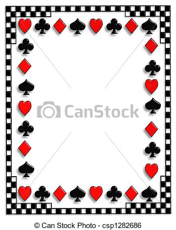 Stock Illustration Of Playing Cards Border Poker   Playing Cards Suits