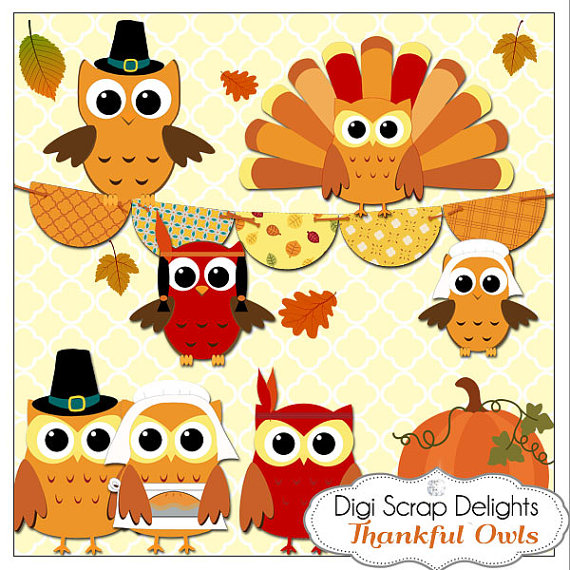 Thanksgiving Owls Pilgrims Indians Turkey Clip Art For Digital