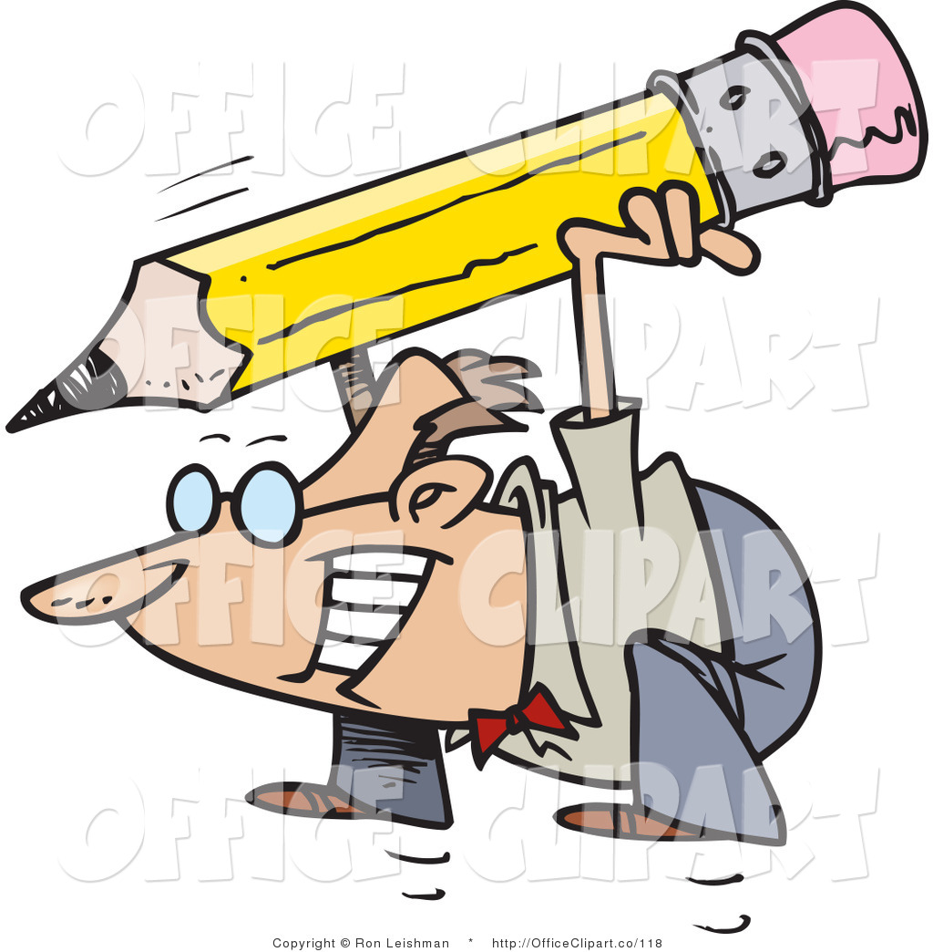 Vector Clip Art Of A Business Man Jumping With A Giant Pencil On His
