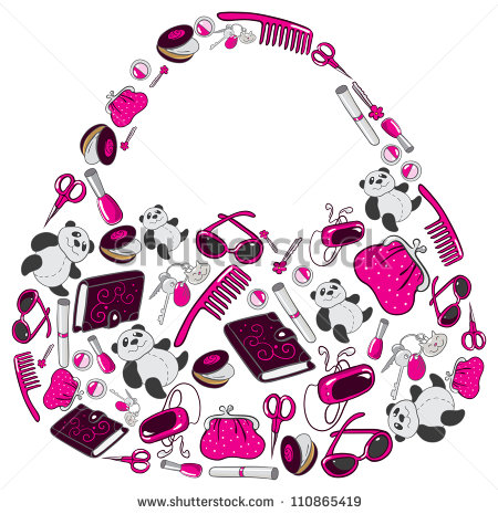 Women S Handbag Made Up Of Many Individual Objects   Stock Photo