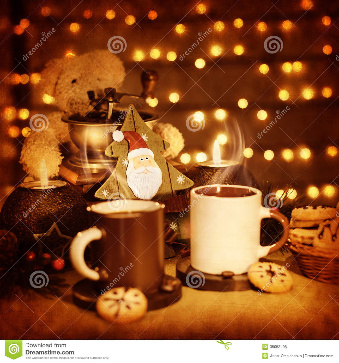 Christmastime Still Life Traditional Gingerbread With Coffee Cups