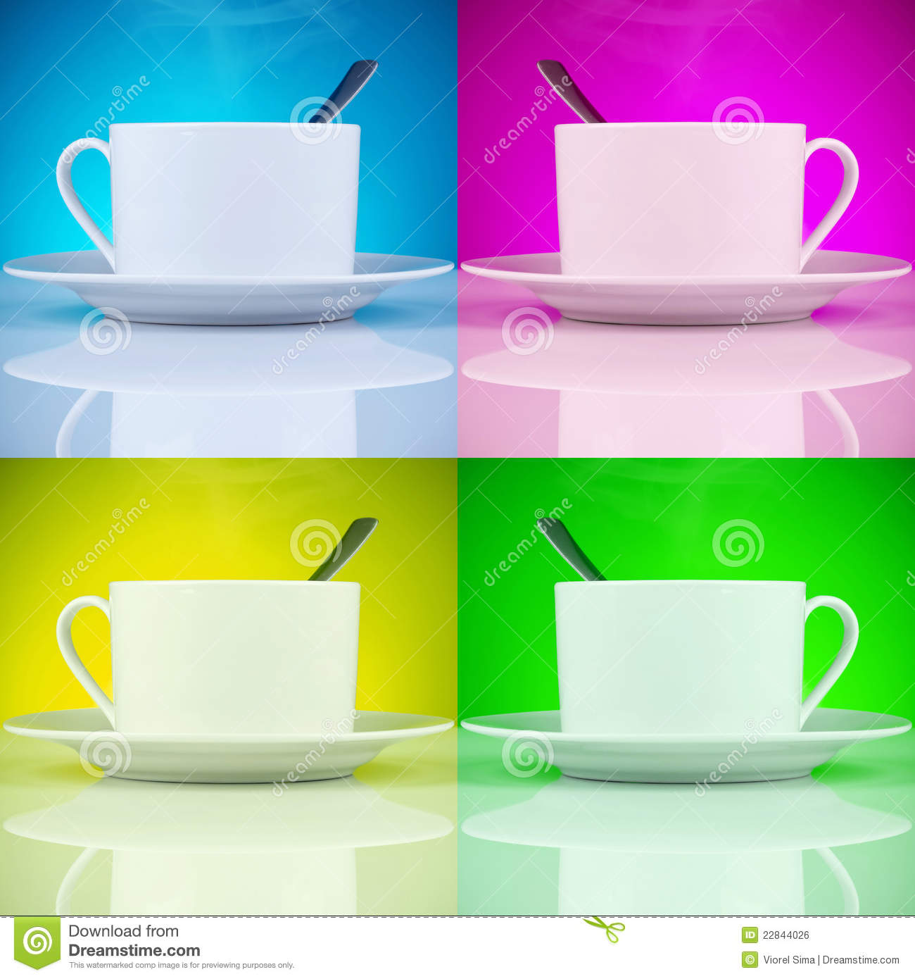 Coffee Cups In Magenta Cyan Yellow And Green Background Colors