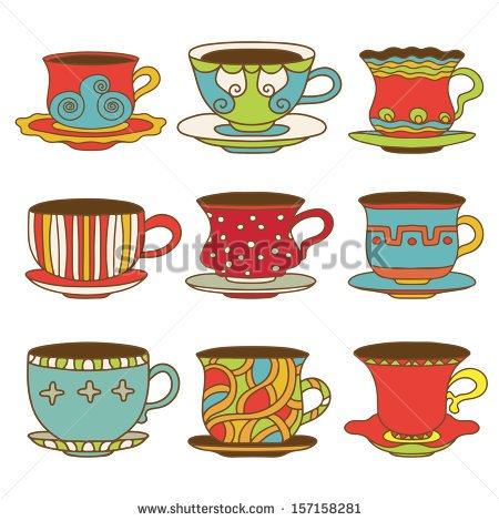 Set Icons Tea   Coffee Cups   Vector   Stock Vector