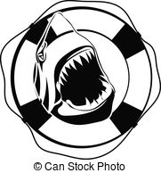 Shark In Lifebuoy On A White Background Clipart Vector