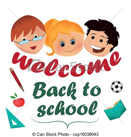 Clip Art Welcome Back To School Clipart welcome back graphics clipart kid to school csp16038043