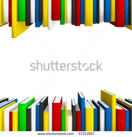 Book Rows Forming A Copy Space Frame For Educational Or Science