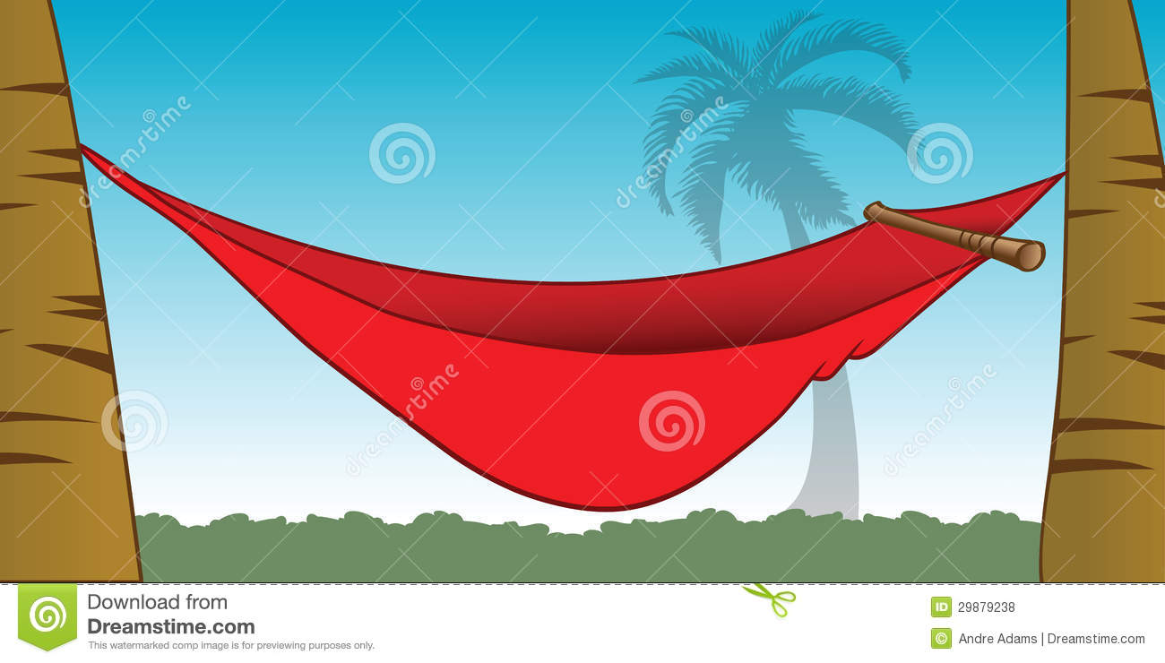 Cartoon Illustration Of A Red Hammock Between Palm Trees