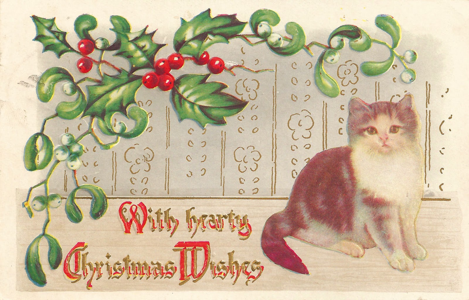 Clip Art  Vintage Christmas Clip Art With Holly Mistletoe And Kitten