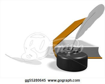 Clipart   Layout Of An Open Book  With Inkwell And Pen  3d Render
