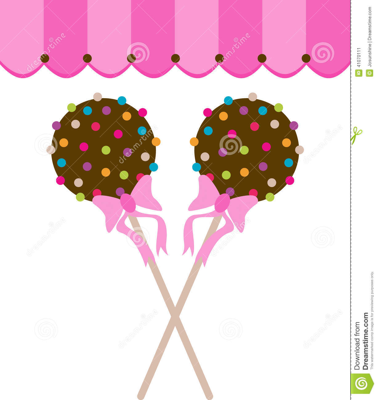 Cute Funny Cake Pops With Polka Dot Icing Pattern Vector Illustration