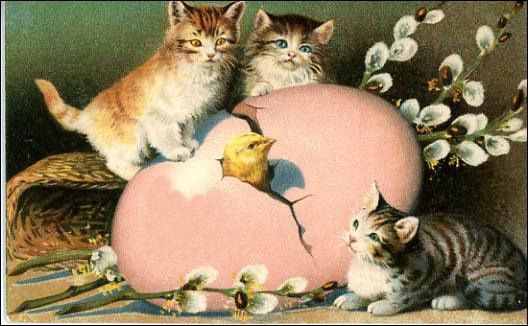 Free Printable Easter Greeting Cards  Vintage Cats And Kittens