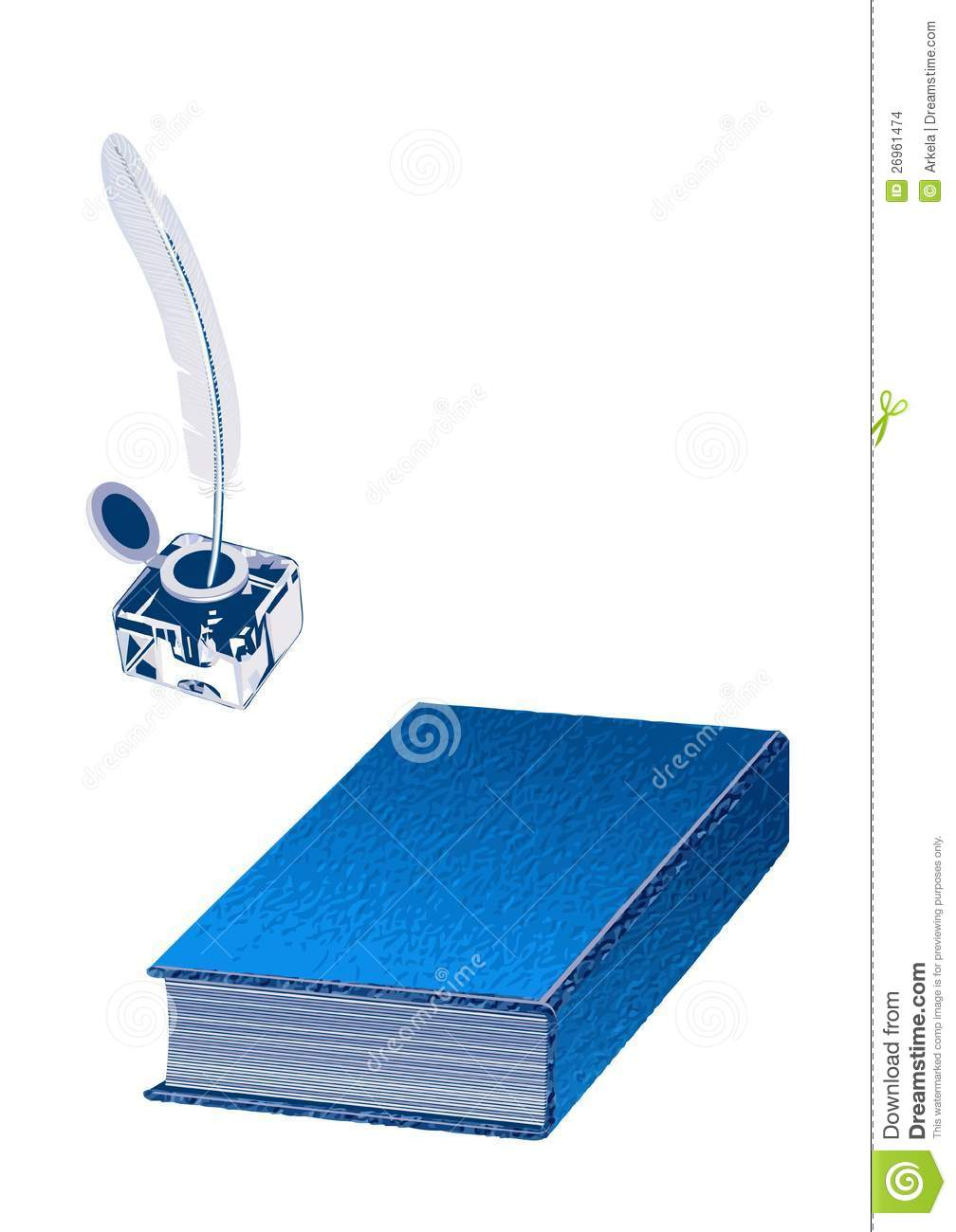Inkwell Pen And A Book Isolated On The White Background