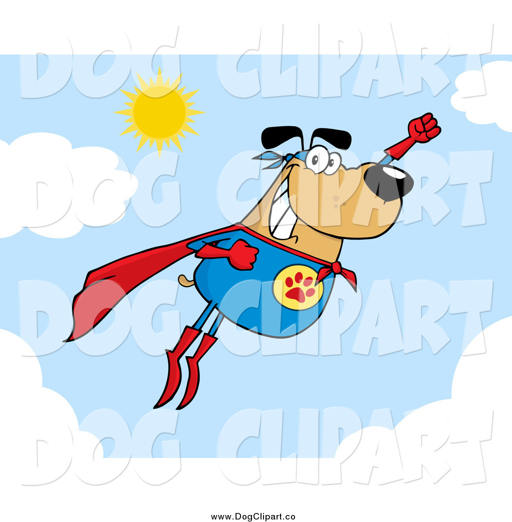Larger Preview  Vector Cartoon Clip Art Of A Flying Super Hero Dog
