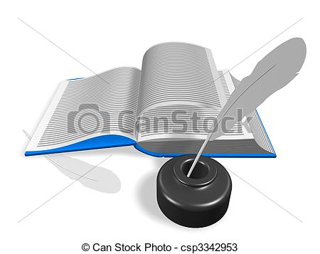 Layout Of An Open Book  With Inkwell And Pen  3d Render  Isolated On