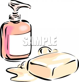 Liquid Soap In A Dispenser And A Bar Of Bath Soap Clipart Image Jpg