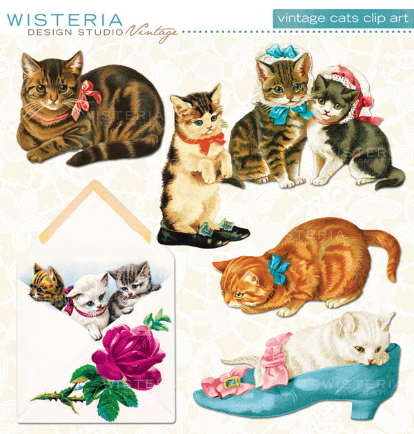 Vintage Christmas Cat Clipart Vintage Cats   Instant