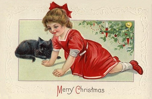 Vintage Victorian Christmas Card Black Cat Little Girl Red Dress Xmas