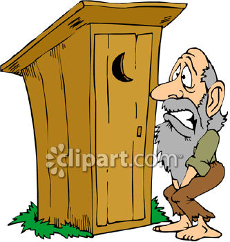 2618 1504 A Hillbilly Waiting Outside An Outhouse Clipart Image Jpg
