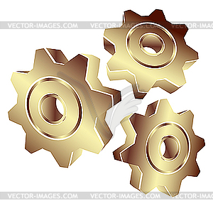 3d Gears In Gold   Vector Clipart