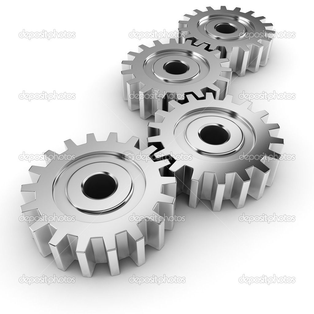 3d Metal Gear Wheel Render On White Background   Stock Photo
