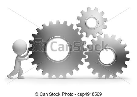3d Small People Rolls Gears  3d Image  Isolated White Background