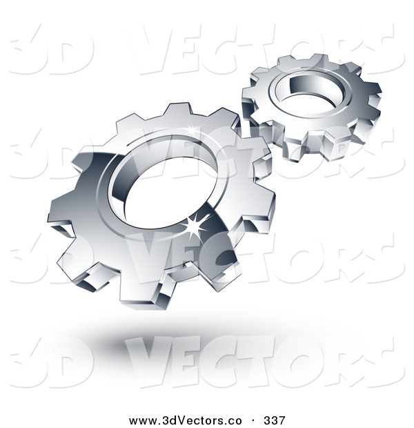 3d Vector Clipart Of Two New Chrome Gears Spinning In Sync By Beboy