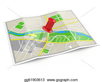 Clip Art   Location  Map And Thumbtack  Gps Concept  3d  Stock