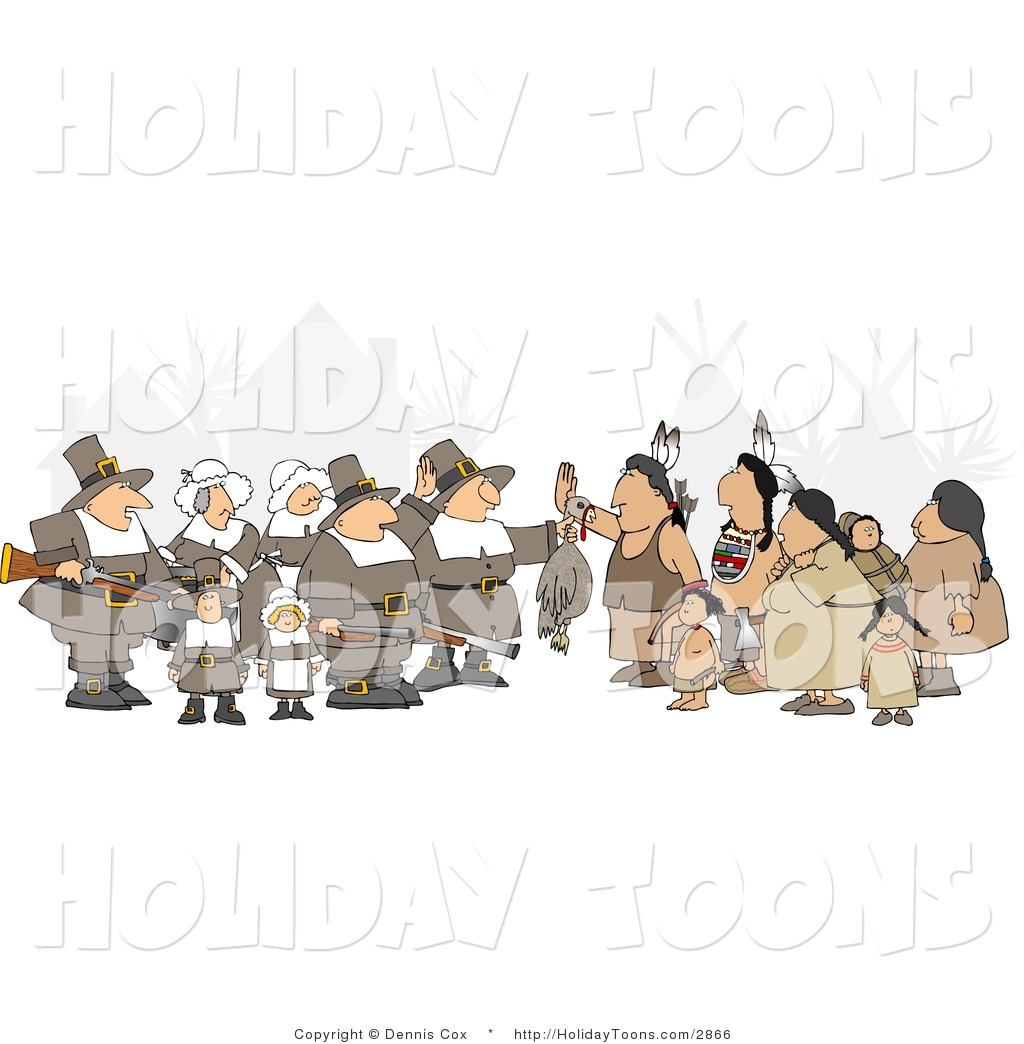 Pilgrims Offering A Dead Turkey To Indians   Thanksgiving Clipart By