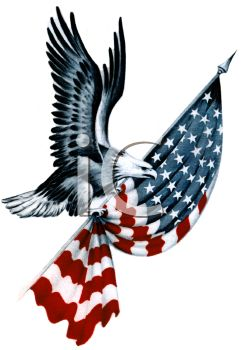 Royalty Free Clip Art Image  American Eagle Carrying A Folded Flag