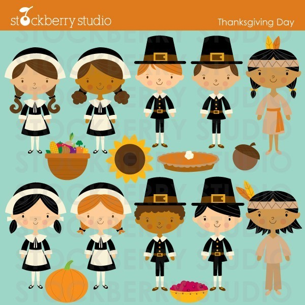 Thanksgiving Pilgrims And Indians Personal And Commerical Use Clipart