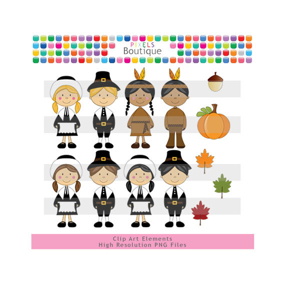 Thanksgiving Pilgrims   Indians Clipart  No  088  13 Png Files