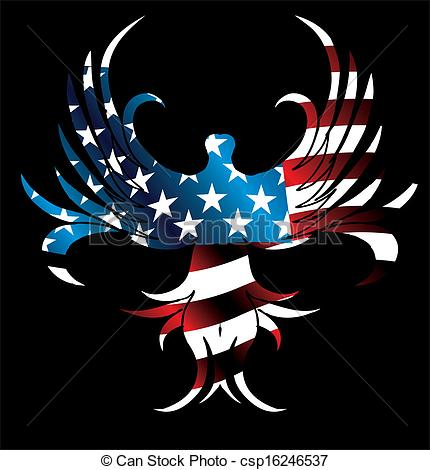 Vector   American Flag And Eagle Vector Art   Stock Illustration