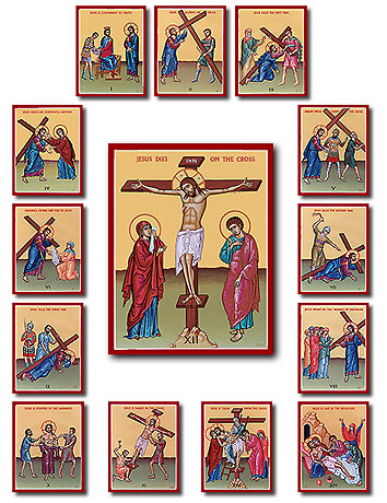 14 Stations Of The Cross Icon Plaque Set