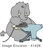 41428 Clip Art Graphic Of A Dry Cleaner Elephant Ironing A Blue Shirt