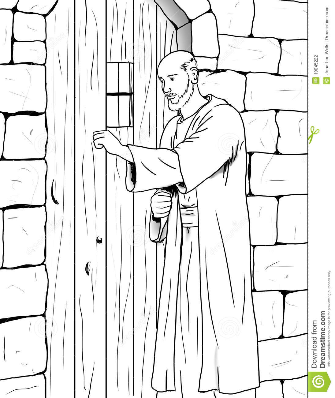 Black And White Drawing Of A Man Knocking On A Door