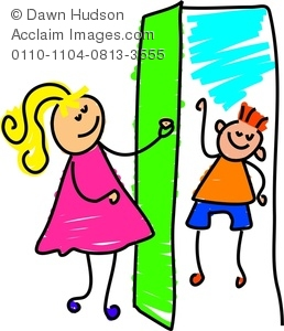 Clipart Image Of A Happy Little Girl Answering The Door To A Little