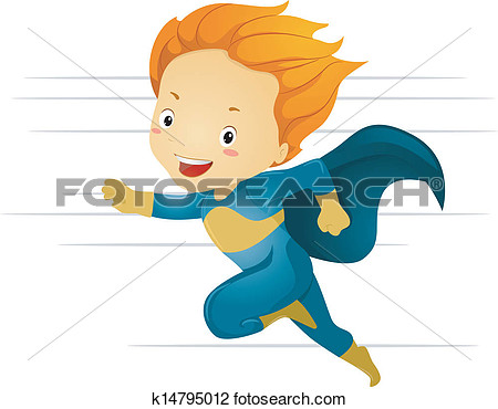 Clipart   Little Kid Boy Superhero Running Fast  Fotosearch   Search