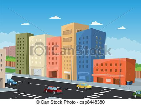 Clipart Of Driving Downtown   Illustration Of A Cartoon City Downtown
