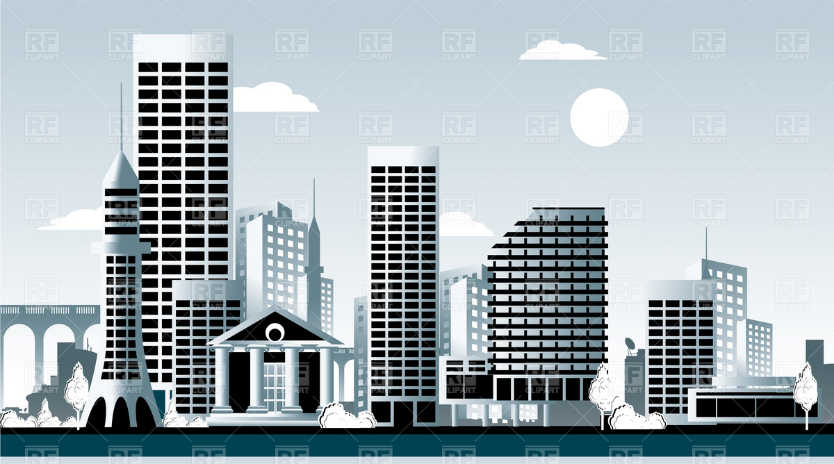 Downtown With Skyscrapers Download Royalty Free Vector Clipart  Eps